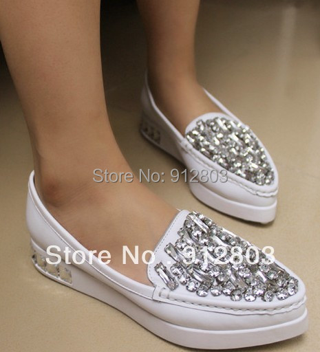 2014 First Layer Cowhide GENUINE LEATHER Rhinestone Shoes, Women's Pointed Toe Flat Heel Platform Single Shoes