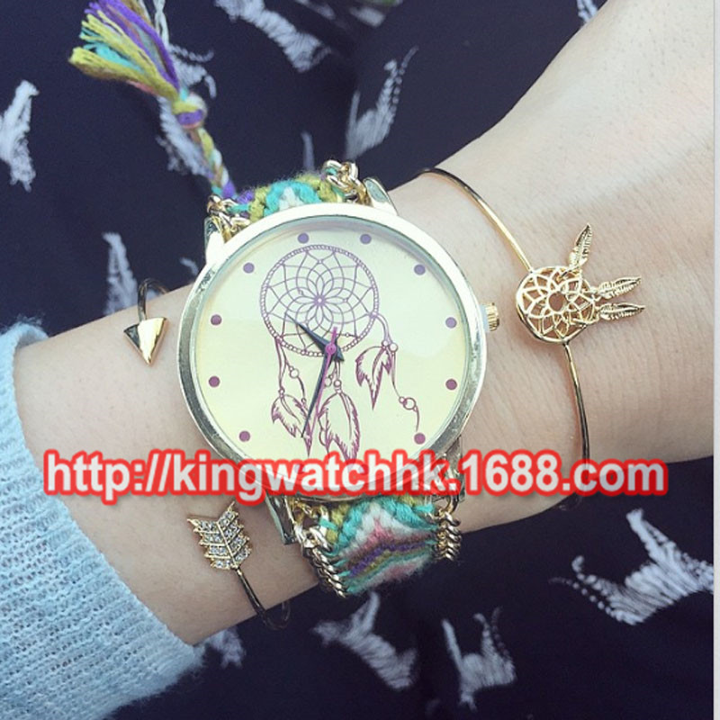 100pcs/lot,Handmade Rope Bracelet Wristwatch Dreamcatcher Friendship Bracelet Watch Chain Fabric Dress Watch  Women Casual Watch