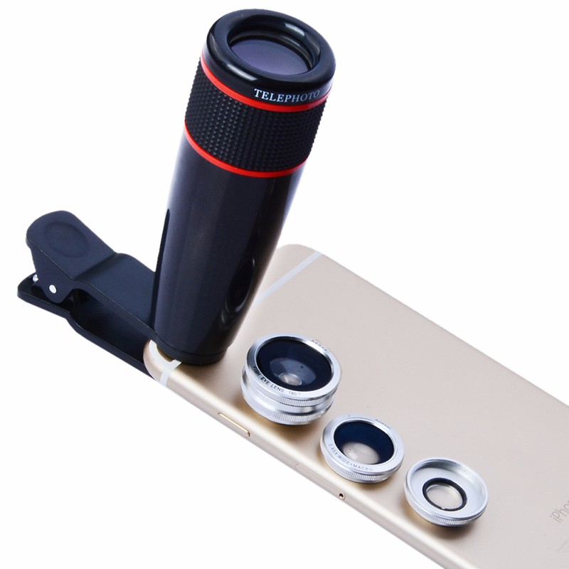 ABS Mobile Phone Lens 12X Telephoto + 0.65X Wide Angle + 10X Macro + 180Degrees Fisheye Universal Fish Eye lenses for Smartphone
