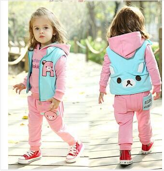 2014 Top Fashion children clothing set bear style hoodies baby girl clothing sets baby boy spring clothing sets 3 pcs/sets(China (Mainland))