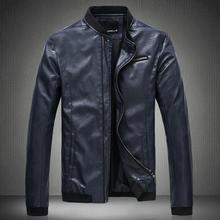 2015 New Arrival Fashion Leather Jacket Men Stand Collar Front Designer Slim Fit High Quality PU Leather Jackets Chaqueta Hombre(China (Mainland))