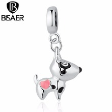 Buy Silver Color Pink Heart Dog Animal Pendants Charms Fit Pandora Bracelet Necklace Women Cute Beads & Jewelry Making WEU5328 for $1.99 in AliExpress store