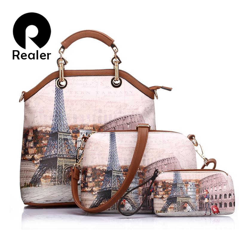 New Realer brand printed vintage handbag PU leather womens medium big tote bags female crossbody bags for women handbag 3 sets(China (Mainland))