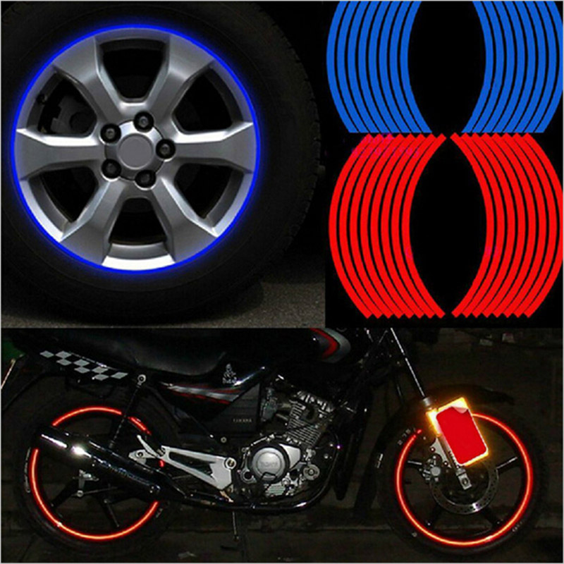 """New! 16 Pcs Strips Wheel Stickers And Decals 14"""" 17"""" 18"""" Reflective Rim Tape Bike Motorcycle Car Tape 5 Colors Car Styling(China (Mainland))"""