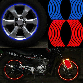 "New! 16 Pcs Strips Wheel Stickers And Decals 14"" Reflective Rim Tape Bike Motorcycle Car Tape 5 Colors Car Styling HA10649"