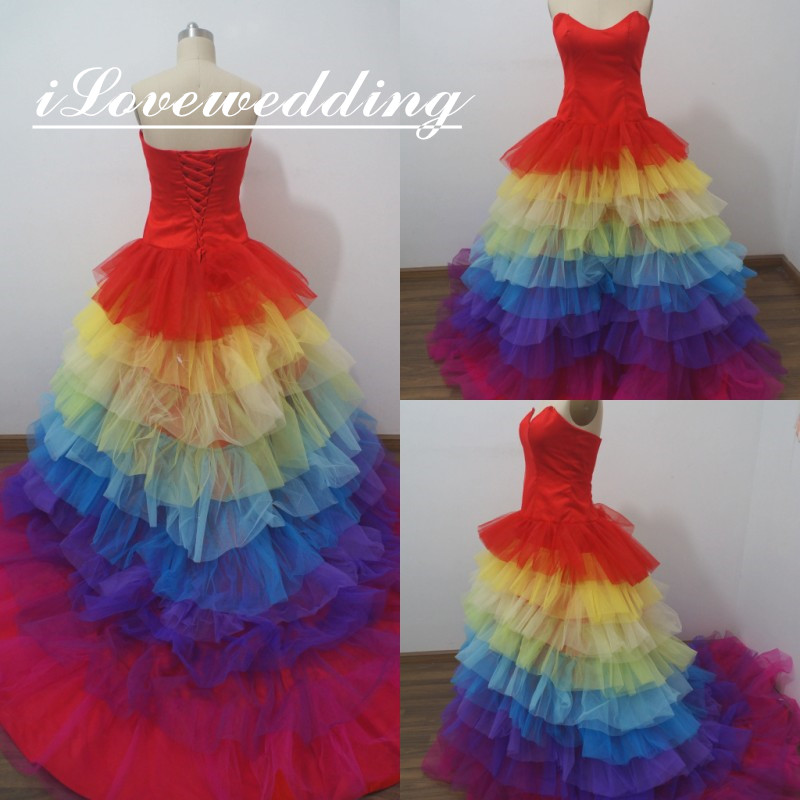 Rainbow Wedding Bridal Dresses Promotion Shop For Promotional Rainbow Wedding Bridal Dresses On
