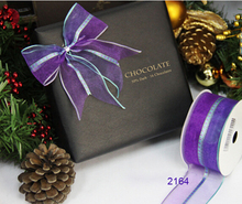Free Shipping 25yards roll purple organza with tartan in middle gift box packaging wired edge ribbon