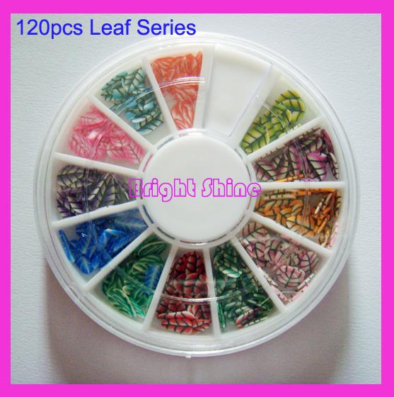 Mixed Leaf Nail Art Slice Stickers UV Acrylic Decoration Wheel- Fimo nail art Slice decoration Polymer Clay Slice