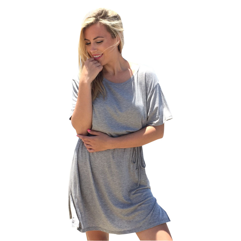 casual gray women dress summer dress vestidos robe ropa mujer vetement femme shirt tee dresses. Black Bedroom Furniture Sets. Home Design Ideas