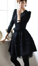 J205 women one piece dress power shoulder black underneath net pleated Tiered(China (Mainland))