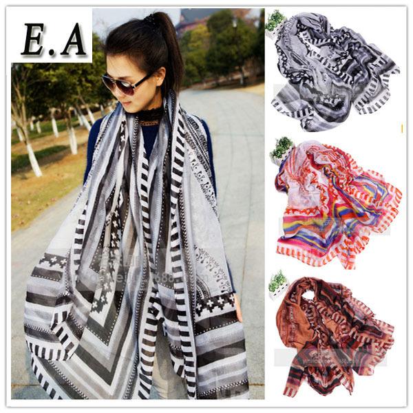 E.A Fashion Women's brand scarves,Aztec geometric printed scarf women long cotton shawl Hijab big size 105*194 XS260(China (Mainland))