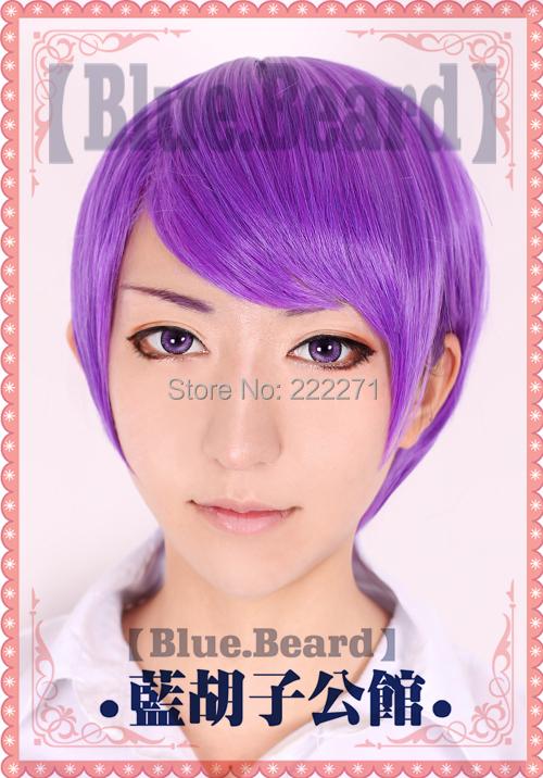 FREE SHIPPING Anime Tokyo Ghoul Tsukiyama Shuu Short Purple Full Lace Cosplay Wig Costume Heat Resistant + CAP<br><br>Aliexpress