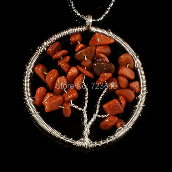 Gold Sand Natural Stone Gravel Beads Round Tree Of Life Winding Reiki Pendant Charms Health Amulet Numen Classic Jewelry 10pcs