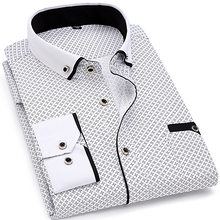 אופנה הדפסה מקרית גברים ארוך שרוול חולצת תפרים אופנה כיס עיצוב בד רך נוח גברים שמלת Slim Fit סגנון 8XL(China)