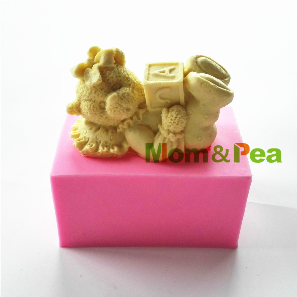 Mom pea 0773 free shipping cartoon girl bear abc shaped for Abc cake decoration