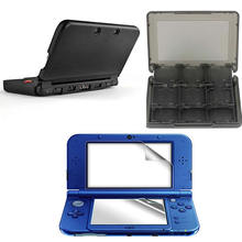 Black Aluminium Full Body Protective Hard Case + Screen Protector + Black Smoke 28in1 Card Case for New 3DS XL/LL