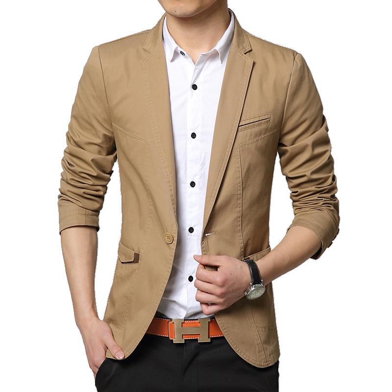 2015 New Arrival Men Blazer Slim Fit One Button Long Sleeve Casual Cotton Blazer Men Solid Color ...