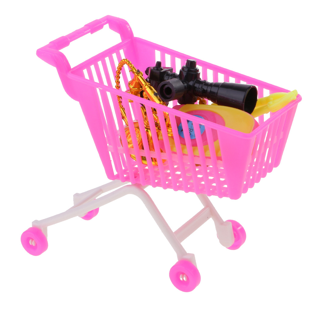 5 Pieces Pink Plastic Supermarket Shopping Cart Set Dollhouse Shopping Cart Camera Cellphone Binoculares Pretend Play toy