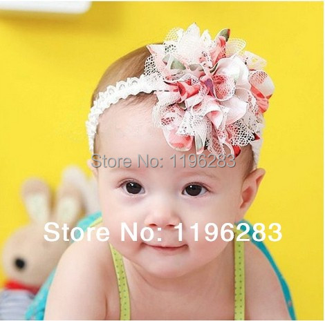 Min order of $ 8-- Baby Chiffon Flower Headband Girls Lace Headband Infant Knitting Hair Weave Baby Hair Accessories Gift HA02(China (Mainland))
