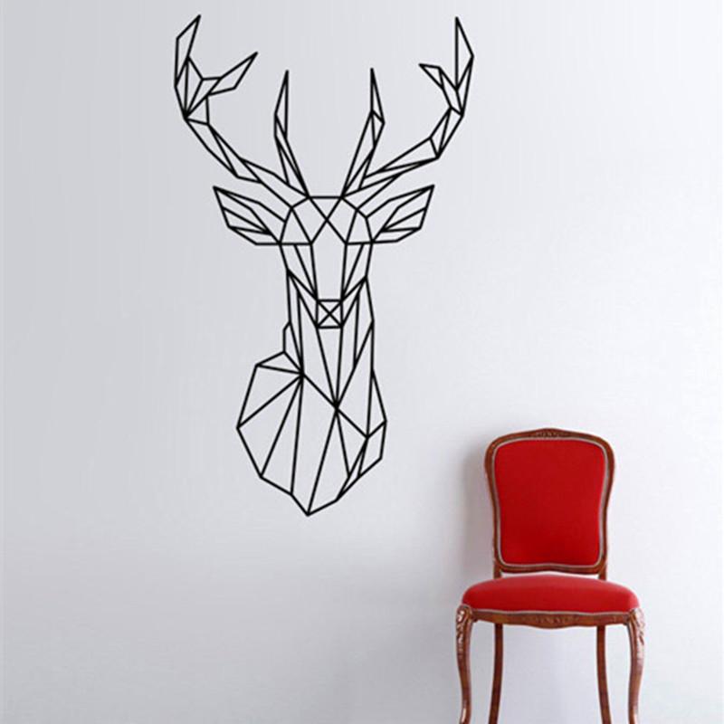 Wall Decor Stickers Pune : New design geometric deer head wall sticker geometry