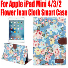 10pcs/Lot Smart Case For Apple iPad Mini 4 3 2 Flower Jean Cloth PU Leather Cover for iPad mini4 With Credit Card slots IM406(China (Mainland))