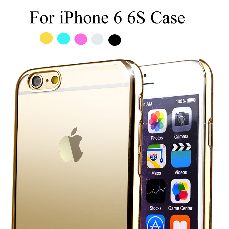 Luxury Gold Plating Crystal Case For iPhone 6 6S Transparent Clear Ultra Thin Hard Back PC Phone Cover For iPhone 6 6S(China (Mainland))