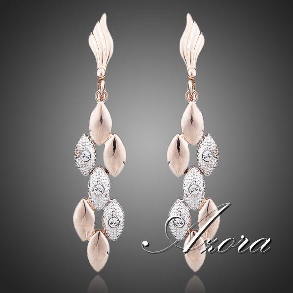 Latest Design 18K Rose Gold Plated Two Tone Wheat Ears with Rhinestones Feast Tassels Earrings FREE SHIPPING!(Azora TE0071)<br><br>Aliexpress
