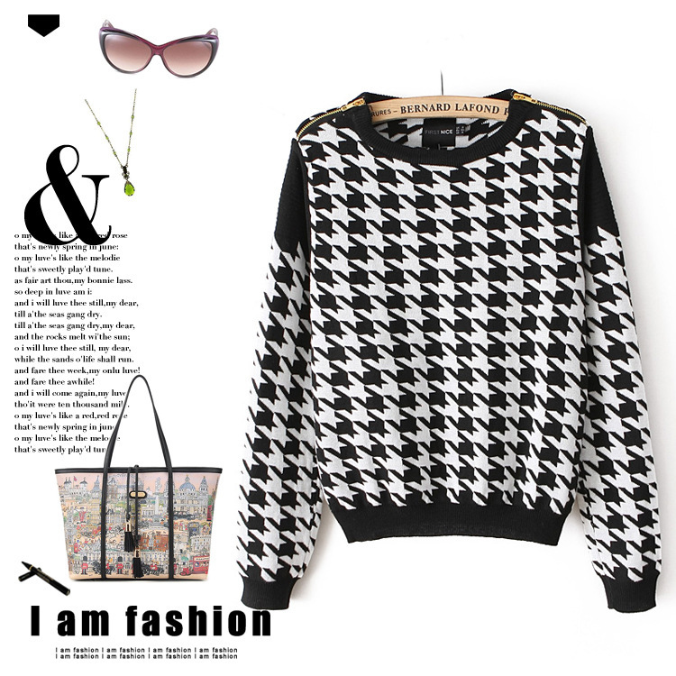 2014 Winter Shoulder Zipper Decoration Black White Plaid Houndstooth Long Sleeve Knit Pullover Sweater Knitwear Outwear Tops - widely fashion trade store