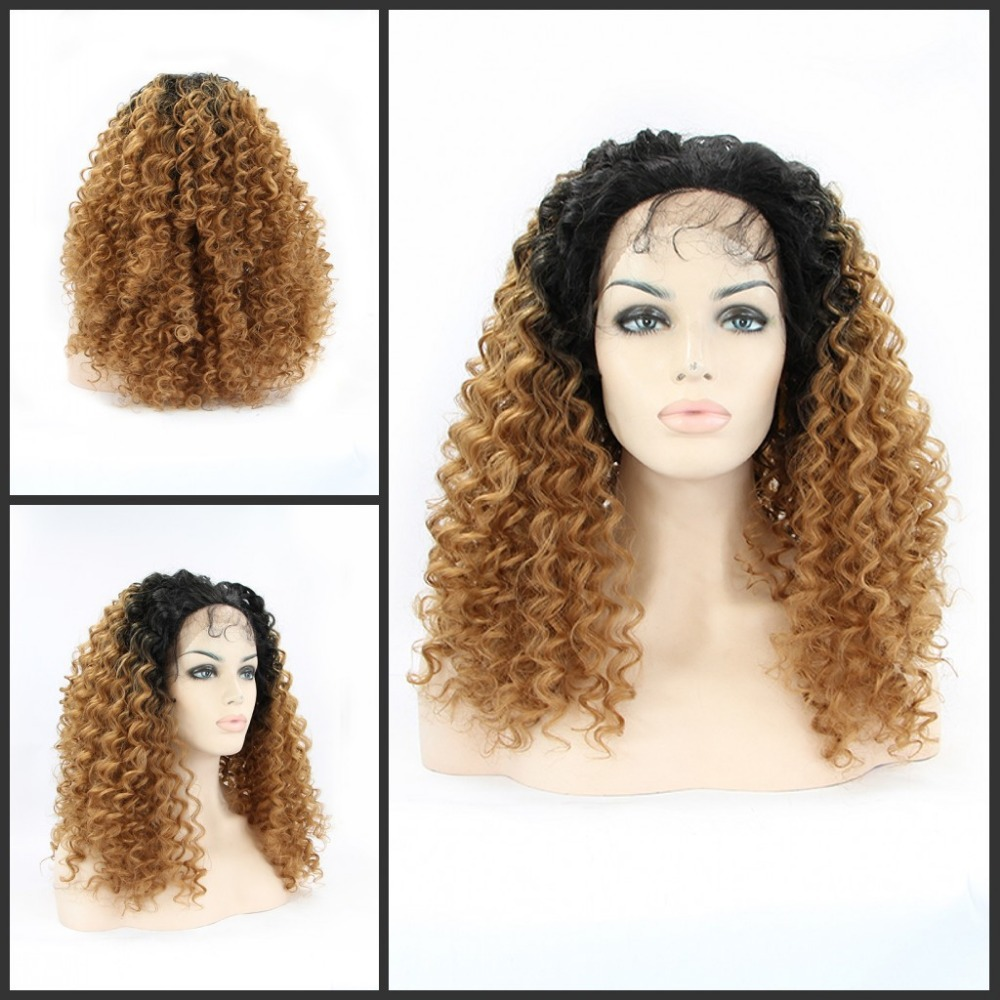 Synthetic Lace Front Wig Heat Resistant Hair Ombre Natural Black Brown Two Tone Color Afro Kinky Curly Wig/ - Qingdao noble queen hair factory store