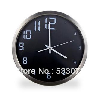 Fashion wall clock quieten brief black and white metal wall clock classic clock pocket watch(China (Mainland))