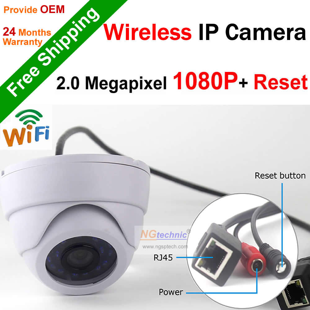 1920x1080 2.0 Megapixel Full HD Wifi Wireless Dome IP Camera Home CCTV Security Onvif P2P Wifi Motion Detect With Reset Button(China (Mainland))