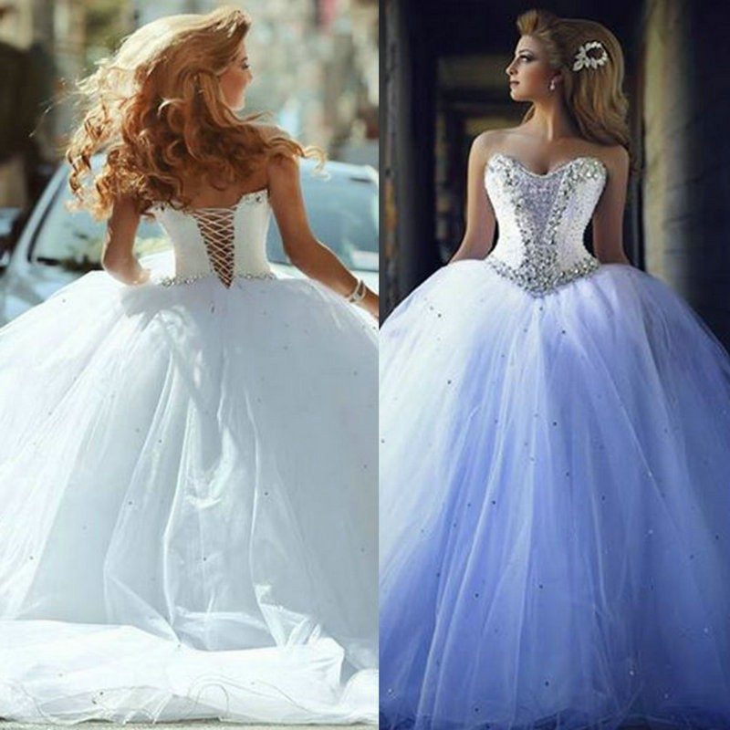 2015 Wedding Dresses with Rhinestones Vintage Ball Gown ...