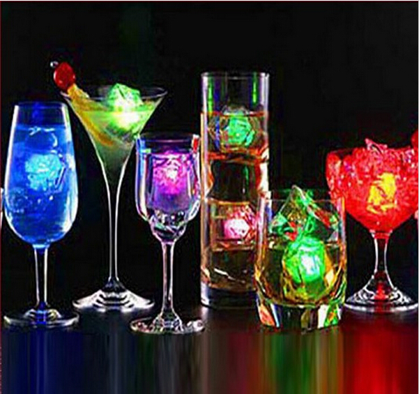 6pcs/lot LED Party Lights Color Changing LED ice cubes Glowing Ice Cubes Blinking Flashing Novelty Party Supply(China (Mainland))
