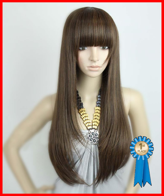 Silky straight Remy full wigs ,26 inch 200g  Indian Blended Fashion wigs #4t30 light brown ,free shipping
