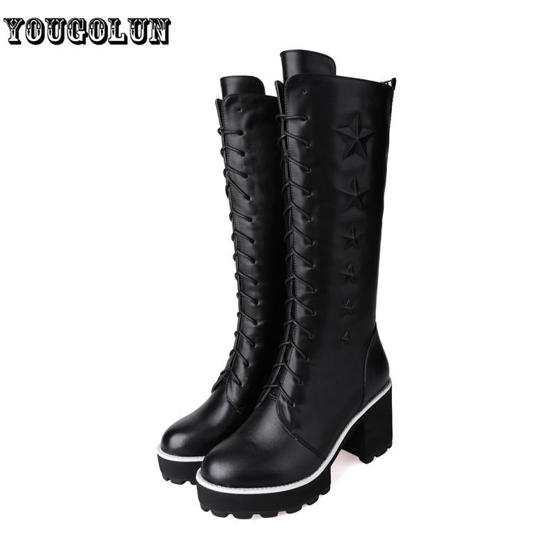 Фотография Genuine leather + PU women Riding thigh knee high boots autumn winter woman fashion female Black white womens shoes ladies boot
