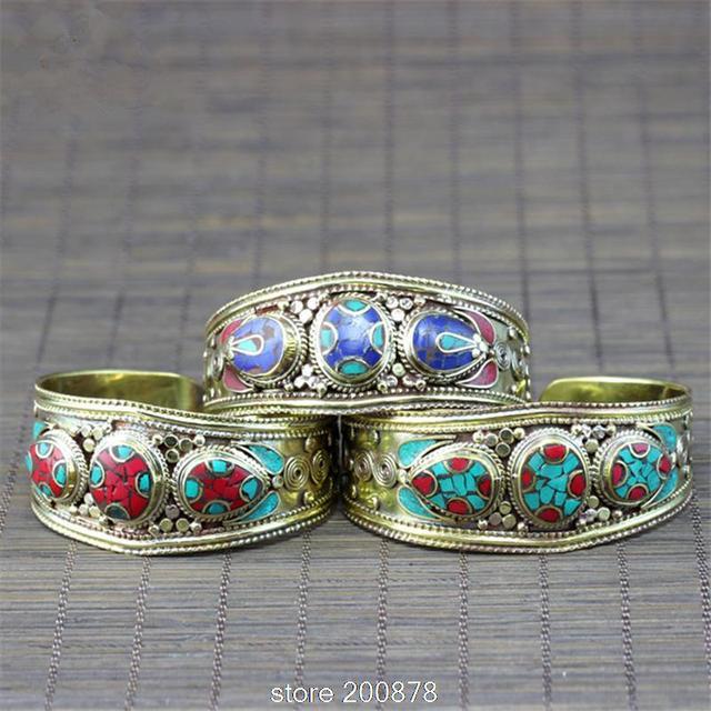 BB-432 Tibetan jewelry Indian colorful Bohemian fashion Metal bangle brass inlaid turquoise Coral bangle Nepalese jewel