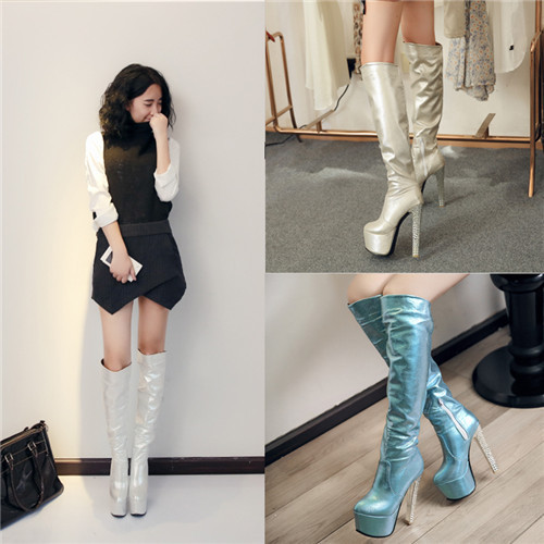 Large Size 9 Autumn Womens Fashion Boots Over The Knee Boots Female Platform Stiletto High Heel Boots Zip Blue Shoes 689-A60<br><br>Aliexpress