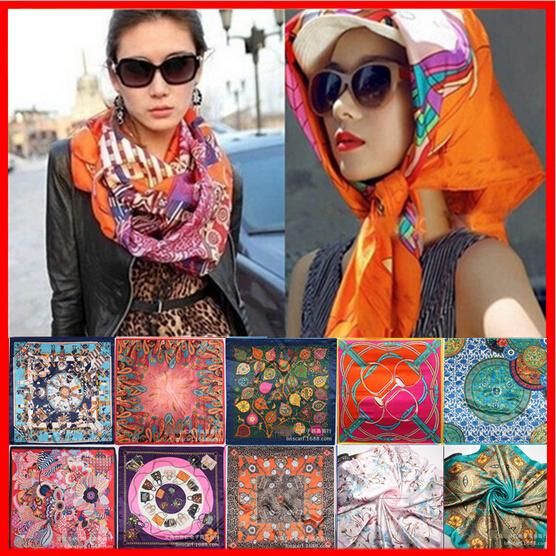 Lowest Price Free Shipping 2015 New Fashion Women Big Size 90x90cm Imitated Silk Square Scarf High Quality Brand Shawl Hijab(China (Mainland))