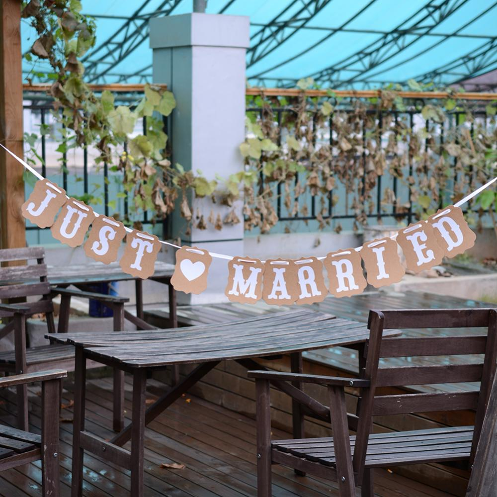 Hot lovely vintage wedding party photo just married banner for Just married dekoration