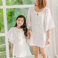 2016 summer matching mother daughter dresses girls women white dress mom and daughter dress pure cotton mommy and me clothes