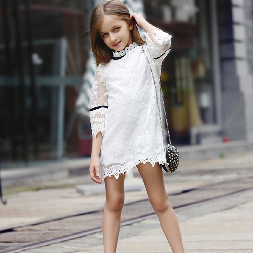 Fashion jacquard Spring and Autumn long-sleeved lace print dress princess party baby girl dresses girl clothes(China (Mainland))