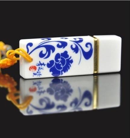 2016 Blue&White Porcelain Fashion Ceramic Usb Flash Drive 64 Gb Gift Usb Stick 2.0 Pen Drive 64GB Pen Drives Memorias Usb Disk(China (Mainland))