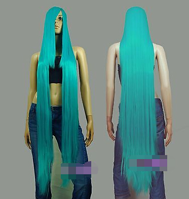 130cm Miku Green Hi_Temp Series 55cm Extra long Bang Cosplay Wigs for women wig fast deliver