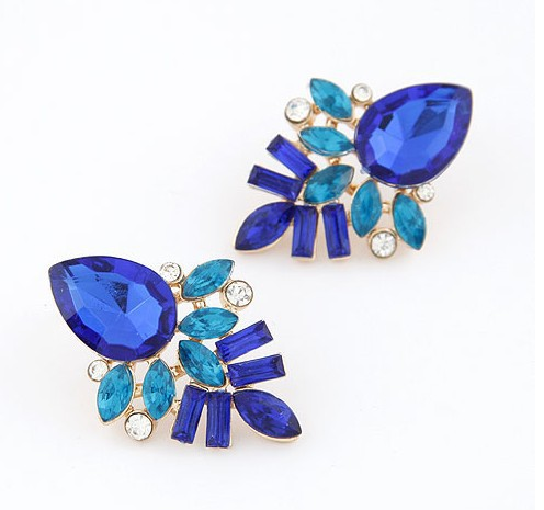 Europe Style Vintage Golden Plated Trendy Blue Gem Stud Earrings Women Party Jewelry - Top Shop store
