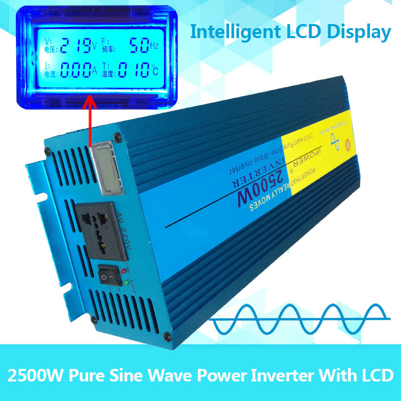 2500W 5000W peak DC 12V to AC 220/230/240V Off Grid Pure Sine wave Solar inverter 2500 watt power inverter LCD Display(China (Mainland))