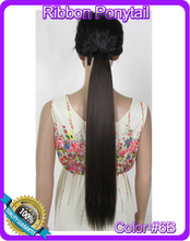 22 inch(55cm) 90g straight ribbon ponytail hairpiece hair pieces clip extensions color #6B Medium Brown - Top Pretty store