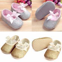 Baby Toddler Girls Shine Newborn Antislip Soft Sole Ribbon Crib Shoes Prewalker(China (Mainland))