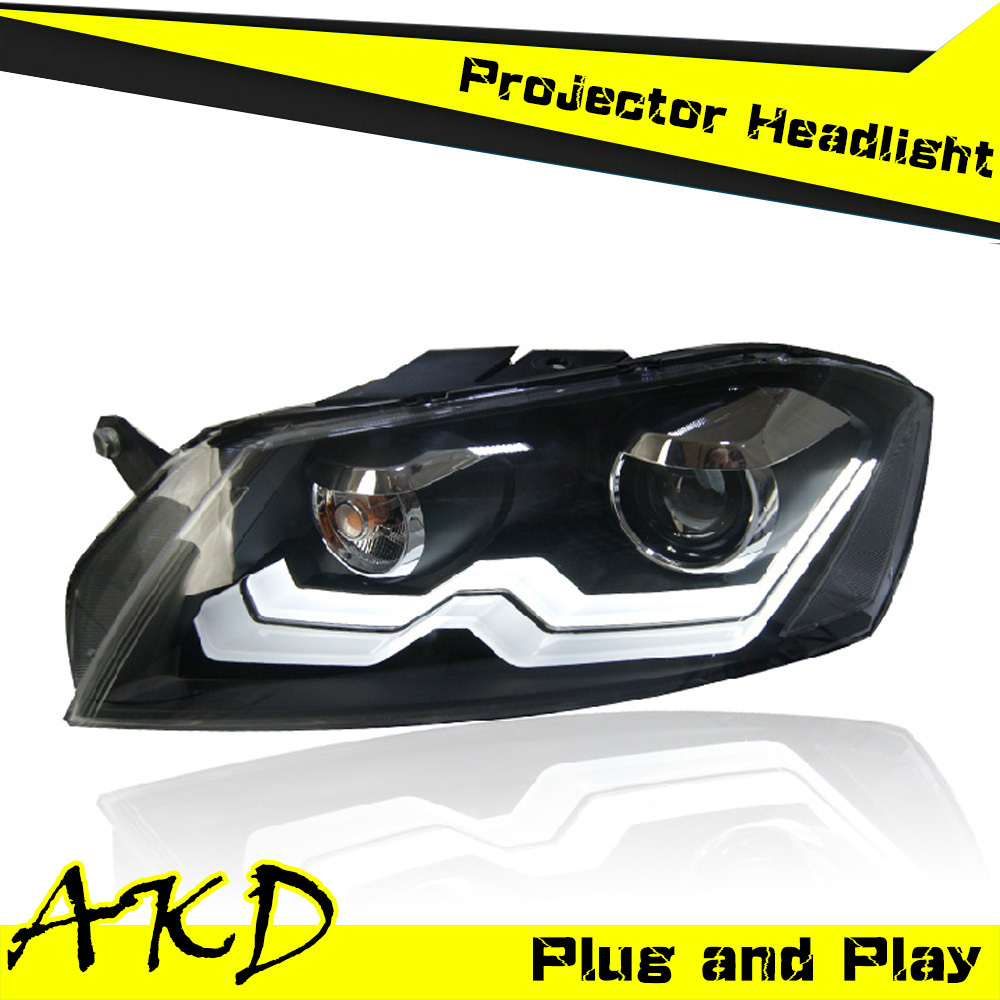 Car Styling VW Passat B7 Headlights 2012 Passat Europe LED Headlight Projector Head Lamp H7 Hid Option Angel Eye Bi Xenon Beam(China (Mainland))