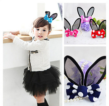 Buy Cute rabbit ears children kids baby girls hair accessories clip hairpins barrettes bow headwear for $1.30 in AliExpress store