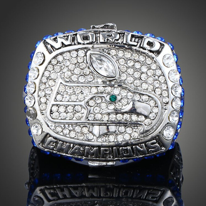 2015 New Fashion Pave Full CZ Diamond Crystal Men Ring Domineering Seattle Seahawks Super Bowl Champions Rings(China (Mainland))